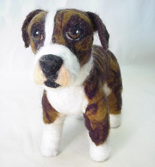 Annie Beautiful Brindle Mix, Needle Felted Dog Portrait - www.ameliamakesart.etsy.com