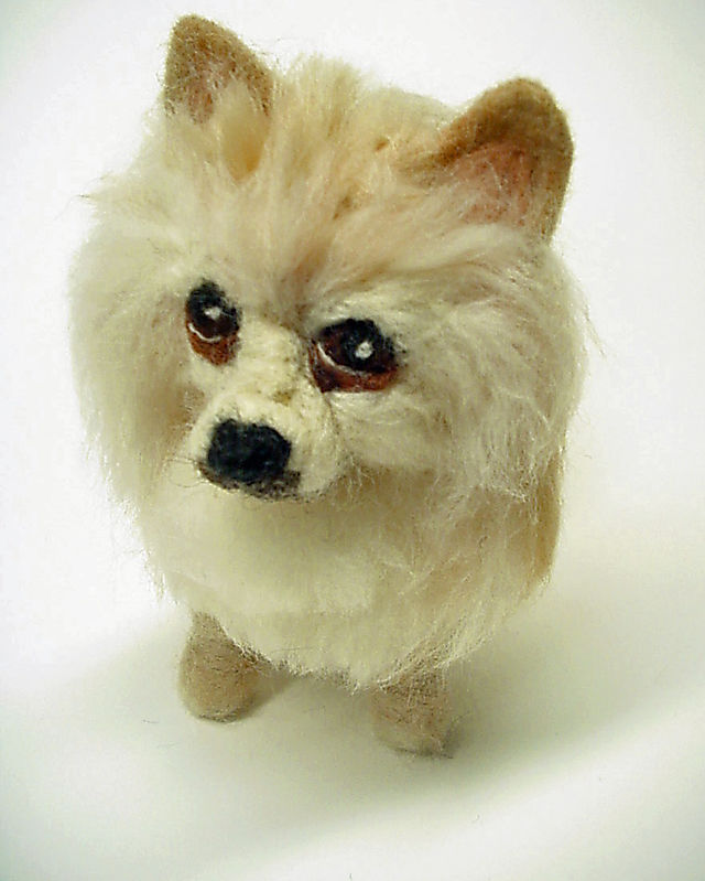 Bayou the Pomeranian, Needle Felted Dog Portrait - commissions at www.ameliamakesart.etsy.com