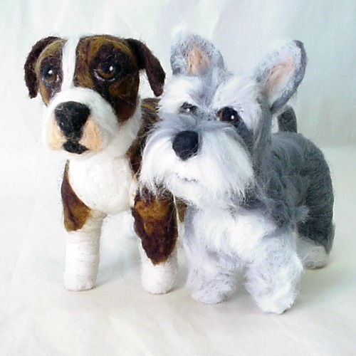 Annie and Gracie, Needle Felted Dog Portraits -- www.ameliamakesart.etsy.com